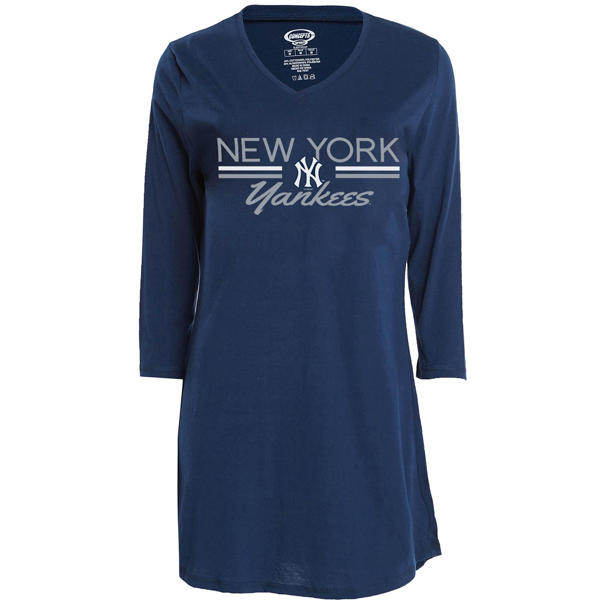 New York Yankees Concepts Sport Women's Duo V-Neck Nightshirt - Navy