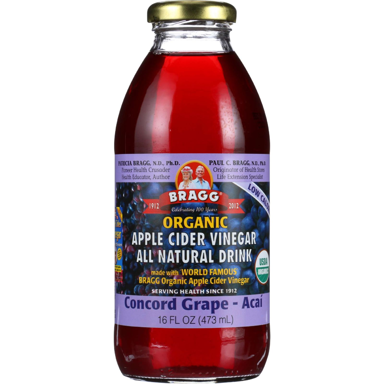 Bragg Apple Cider Vinegar Drink Organic Concord Grape-Acai 16 oz case of 12 by