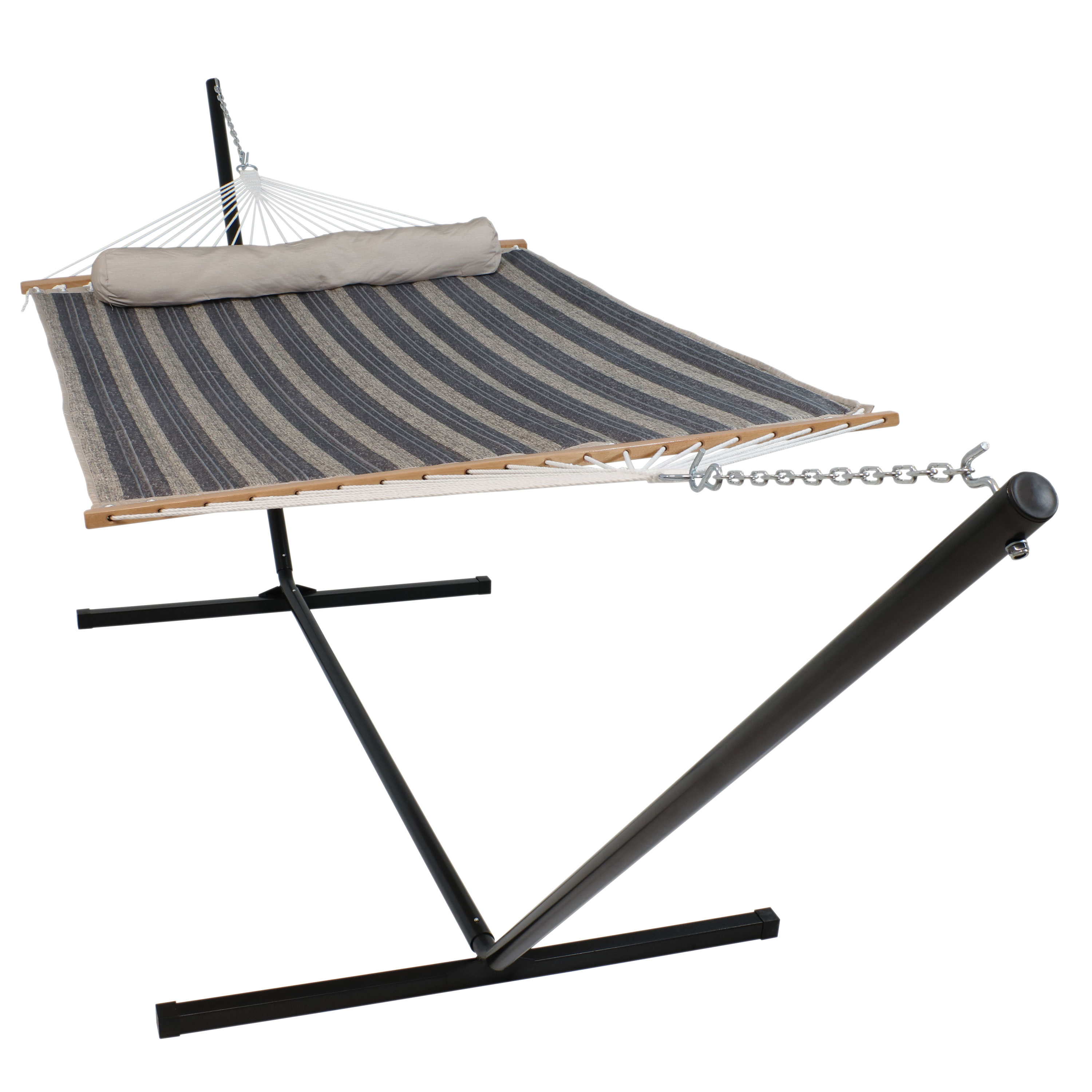 Sunnydaze Quilted Fabric Hammock Two Person with 15-Foot Stand and Spreader Bars, Freestanding Outdoor Heavy Duty 400 Pound Capacity, Mountainside