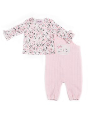 Little Lass Baby Girl Kitty Quilted Overall and Printed Top, 2pc Outfit Sets