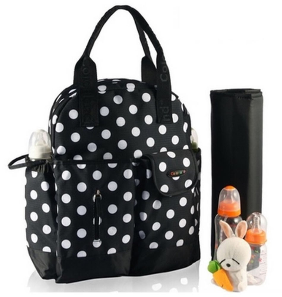 Colorland Multifunctional 4-Way Diaper Backpack, Black Dots