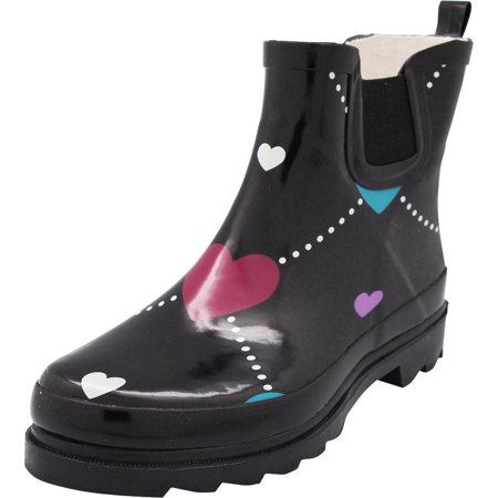 New Norty Women Low Ankle High Rain Boots Rubber Snow Rainboot Shoe Bootie - Runs 1/2 Size Large, 40677 Black Argyle Heart / 7B(](Boots Low Price)