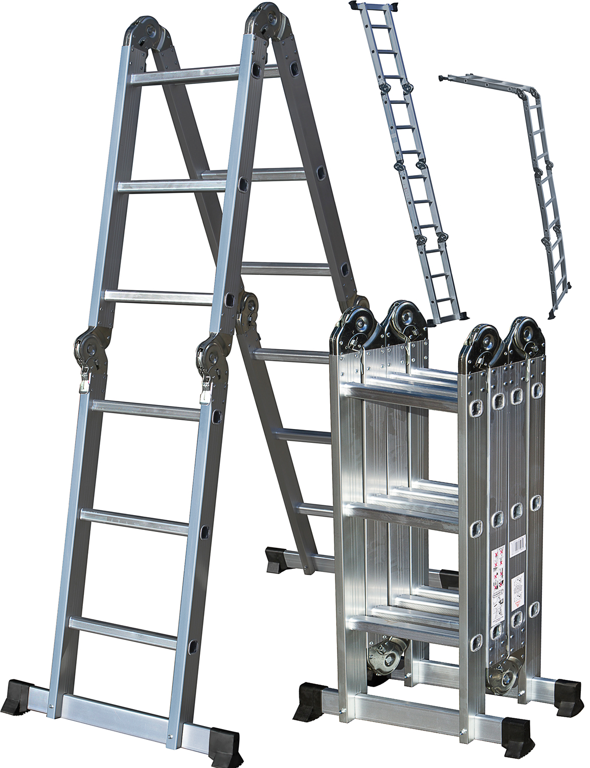 OxGord Heavy Duty Aluminum Folding Scaffold Work Ladder 12.5 ft Multi-Fold Step Light Weight Multi-Purpose extension - 330 LB Capacity