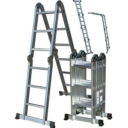 Oxgord heavy duty aluminum folding scaffold work ladder 12 for Folding stairs