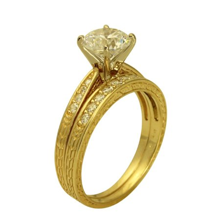 1.50 Ct 14K Real Yellow Gold Round Cut with Round Pave Set Side Stones 4 Prong Cathedral Setting Antique Vintage Style Engagement Wedding Propose Promise Ring with Matching Band Duo 2 Ring Antique Style Engagement Ring Setting