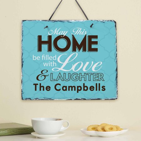 Personalized Filled with Love and Laughter (Personalized Slate Wall Plaque)