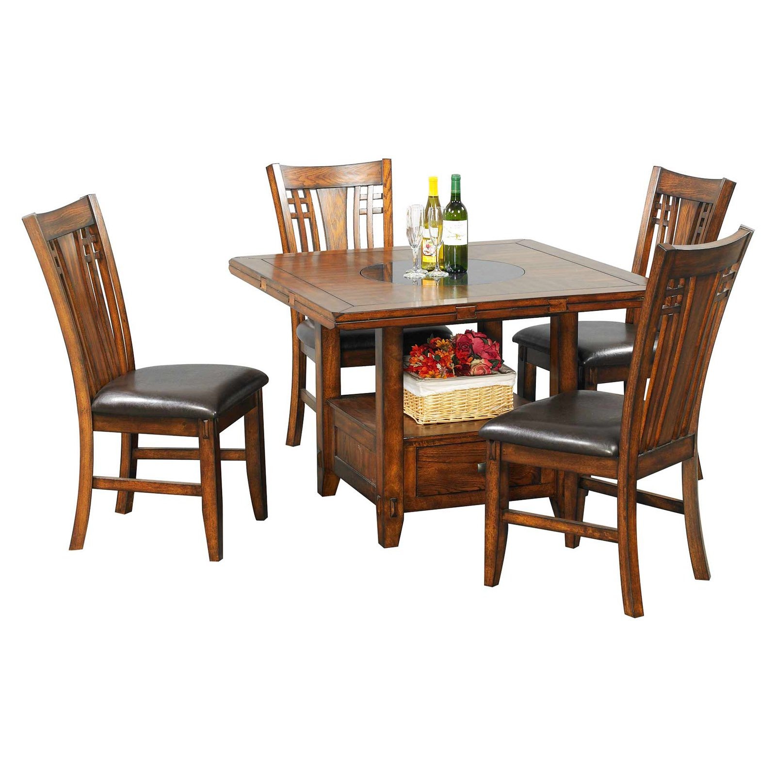 Winners Only Zahara 5 Piece Dining Table Set With Granite Lazy Susan    Walmart.com
