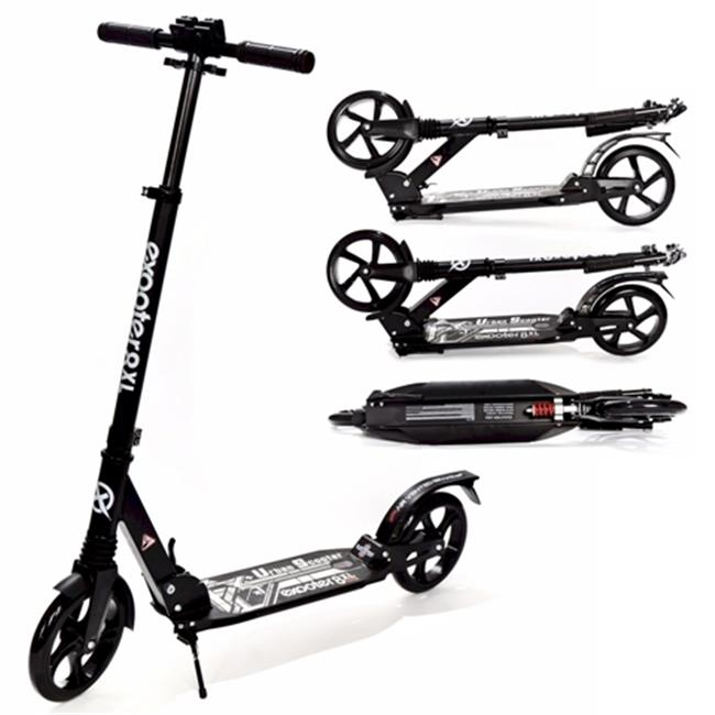 Exooter M1350 8XL Adult Cruiser Kick Scooter with Suspension Shocks, Black