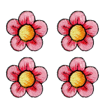 Expo Int'l BaZooples Iron-on Patch Applique Flower Pack of 4