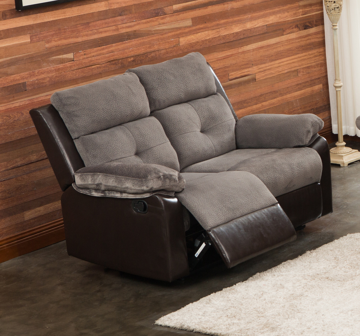 Aira Ultra Fine Grey Thick Fabric Living Room Reclining Loveseat