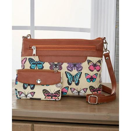 2-Pc. Fabric Crossbody Bag Set - Butterfly