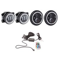 """Heise LED Lighting Systems 7"""" Round 6-LED Headlights With RGB Halo TJ & JK, 4"""" RGB Halo Fog Lights For Jeep Wranglers JK, 4CH RF Controller, 9145 To Psx24W Connector Bundle"""