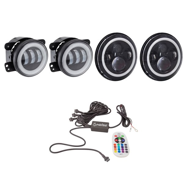 "Heise LED Lighting Systems 7"" Round 6-LED Headlights With RGB Halo TJ & JK, 4"" RGB Halo Fog Lights For Jeep Wranglers JK, 4CH RF Controller, 9145 To Psx24W Connector Bundle"
