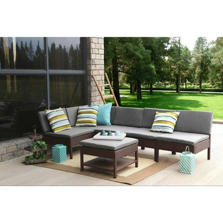 Baner Garden Outdoor Furniture Complete Patio Cushion PE Wicker Rattan Garden Corner Sofa Couch Set, Brown, 6-Pieces