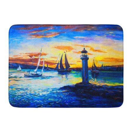 GODPOK Blue Abstract Original Oil Painting on Canvas Old Lighthouse Fine Modern Impressionism Green Acrylic Rug Doormat Bath Mat 23.6x15.7 inch ()