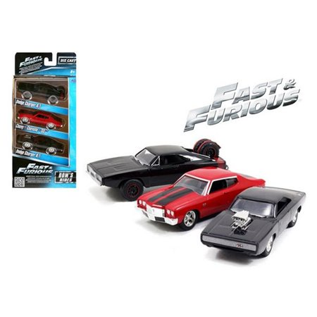 Fast & Furious Doms Rides Dodge Chargers & Chevelle 3 Pack Set 1 55 Diecast Model (Ride Chevelle)