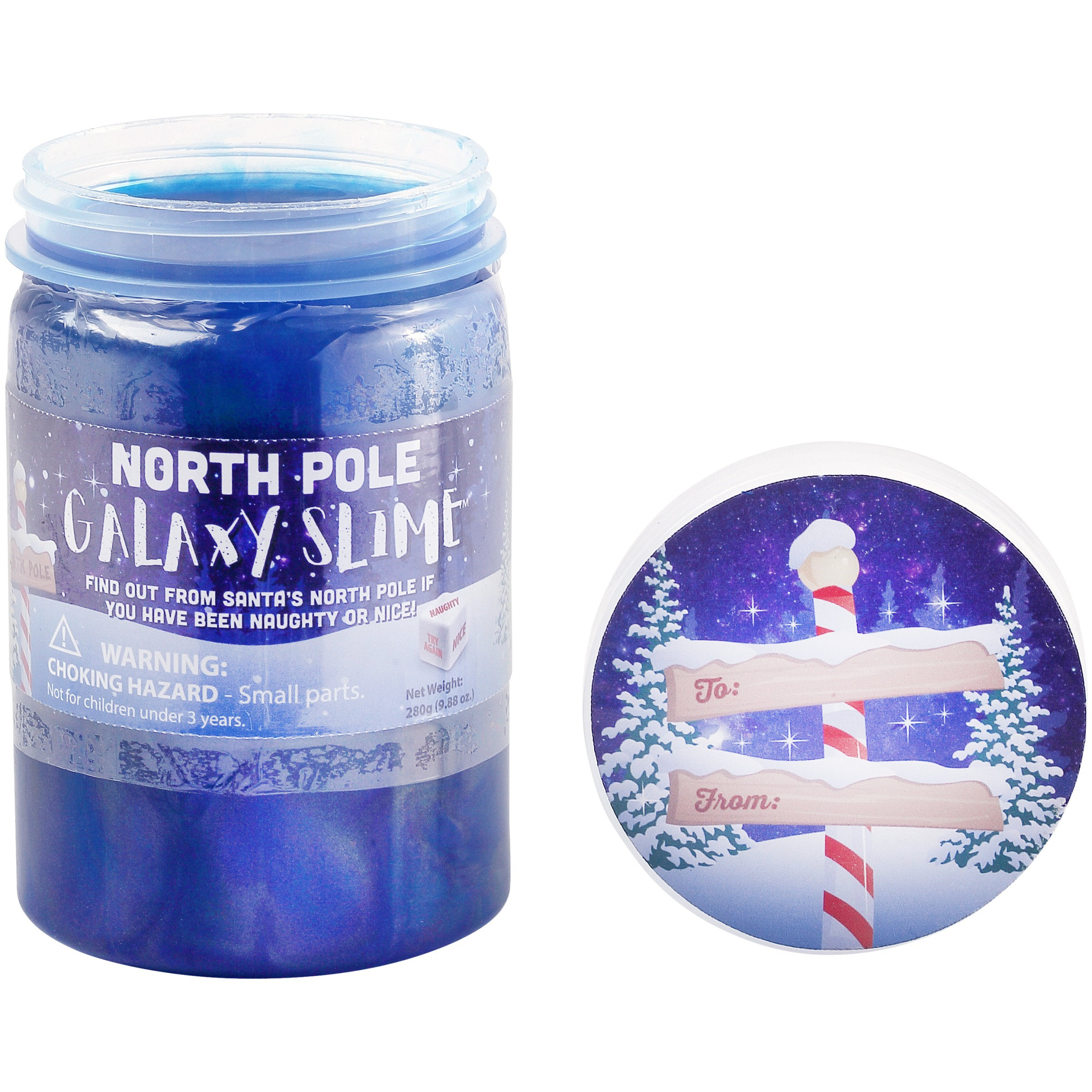 Holiday Time North Pole Galaxy Slime Gift Card Holder Jar with Gift Tag Label