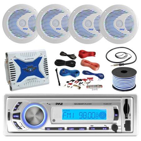 21-29' Pontoon Boat: Pyle Bluetooth Marine Receiver, 4 X Pyle 6 5''  Waterproof White Speakers w/ LED, Pyle 4 Channel 1000 Watt Marine  Amplifier, Amp
