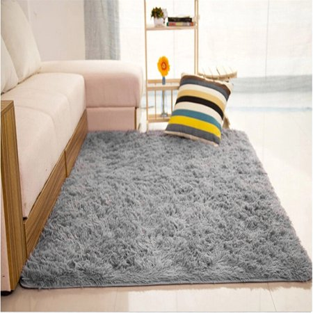 Grey 48 X32 Modern Soft Fluffy Floor Rug Anti Skid Shag