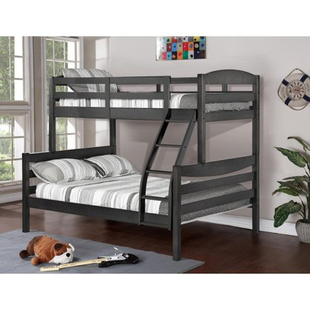 Stanza Rustic Finish Twin Over Full Wood Bunk Bed Grey