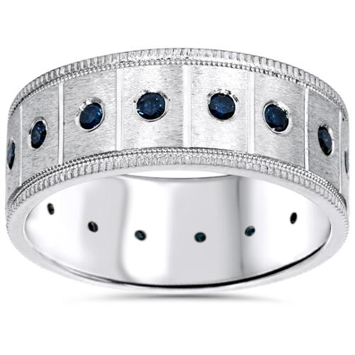 5/8ct Blue Diamond Mens Comfort Fit Wedding Ring 14K White Gold 8mm