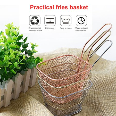 Kitchen Cooking Tools Mini Stainless Steel French Fries Net Fry Fryer Basket Small Square Shape Kitchen Basket - image 3 de 6