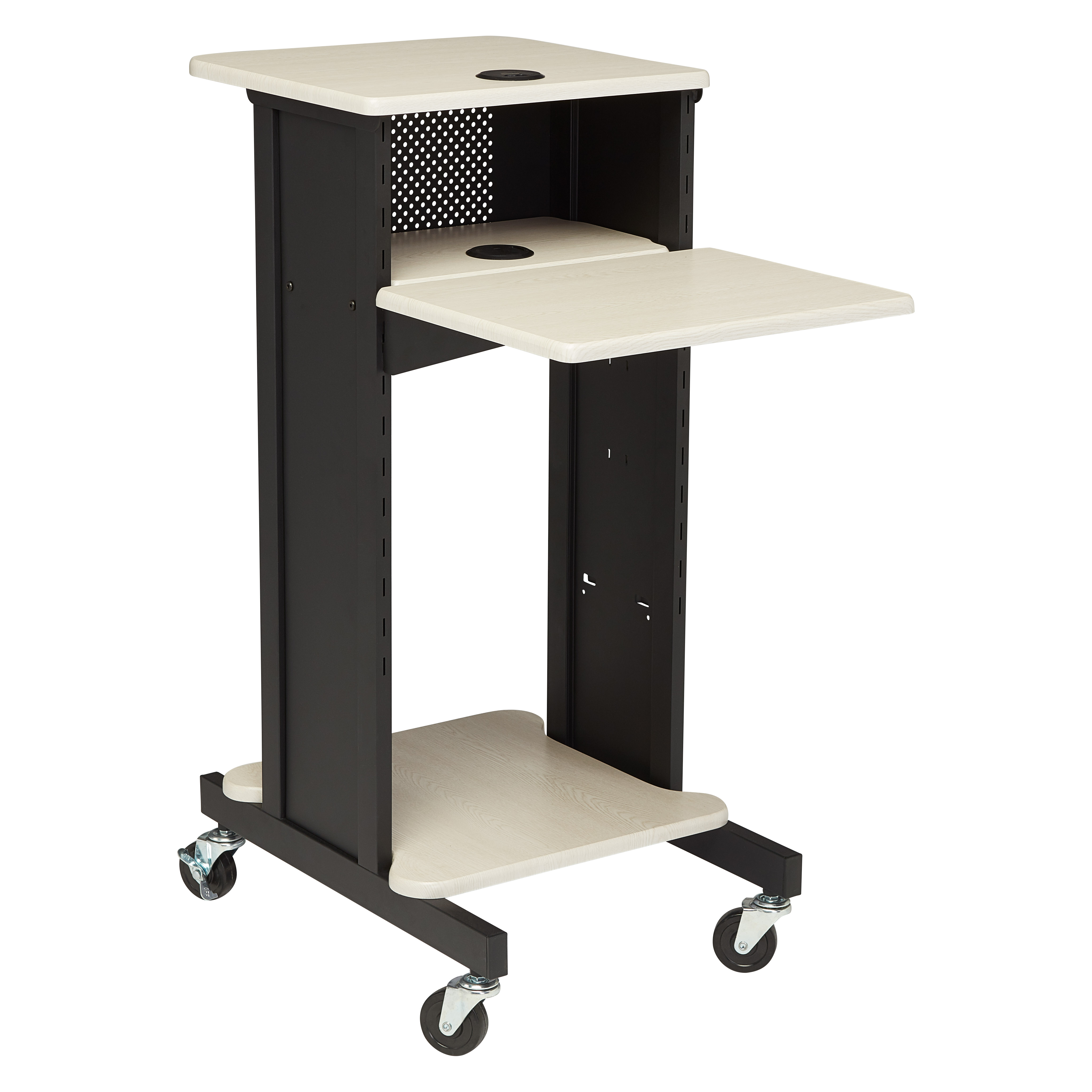Premium Presentation Cart with Wire Management & 6-Outlet Power Strip