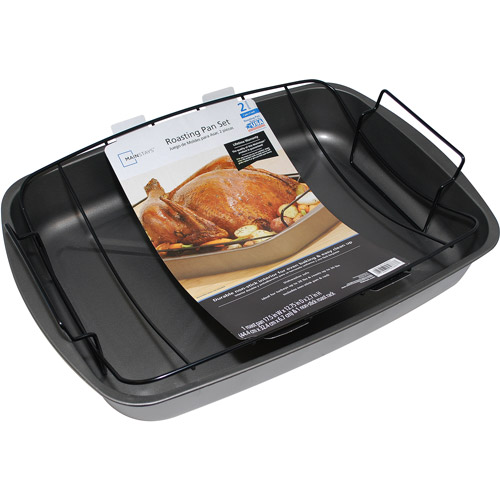 Mainstays 2-Piece Large Roasting Pan Set
