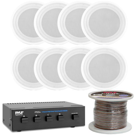 Pyle PDICS82 8 Full Range Flush Mount Encolsure System Speakers with 4 Channel Speaker Selector and 100Ft Speaker Wire (Universal System Selector)