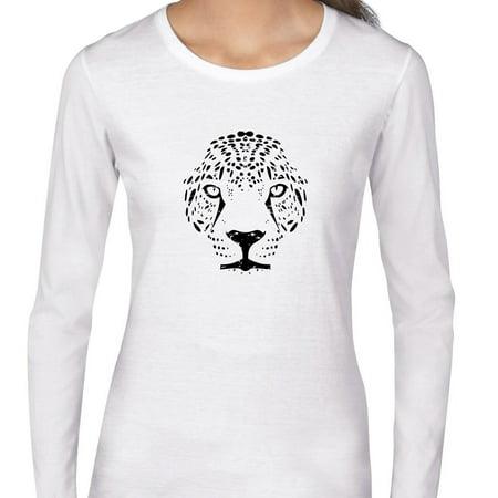 Jaguar Face - Powerful Tribal Jungle Animal Women's Long Sleeve (Long Faced Women)
