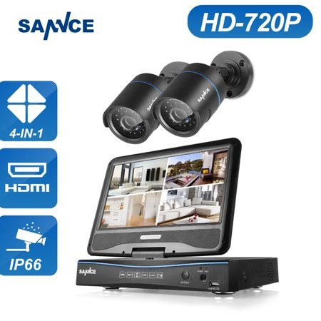 SANNCE Digital 7'' Monotor DVR Security System With 2 Long-Range 720P Night Vision Weatherproof Black Bullet Cameras-No Hard Drive Disk (Camara De Seguridad Inalambrica)
