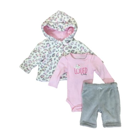 Infant Girls Pink Leopard Baby Outfit Pants Bodysuit & Hoodie Jacket Set