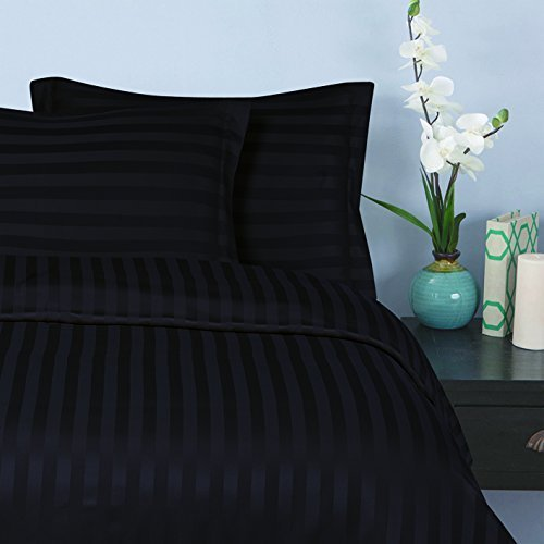 Elegant Comfort® Silky-Soft 1500 Thread Count Wrinkle-Free 6-Piece STRIPE Sheet Set, Queen, Black