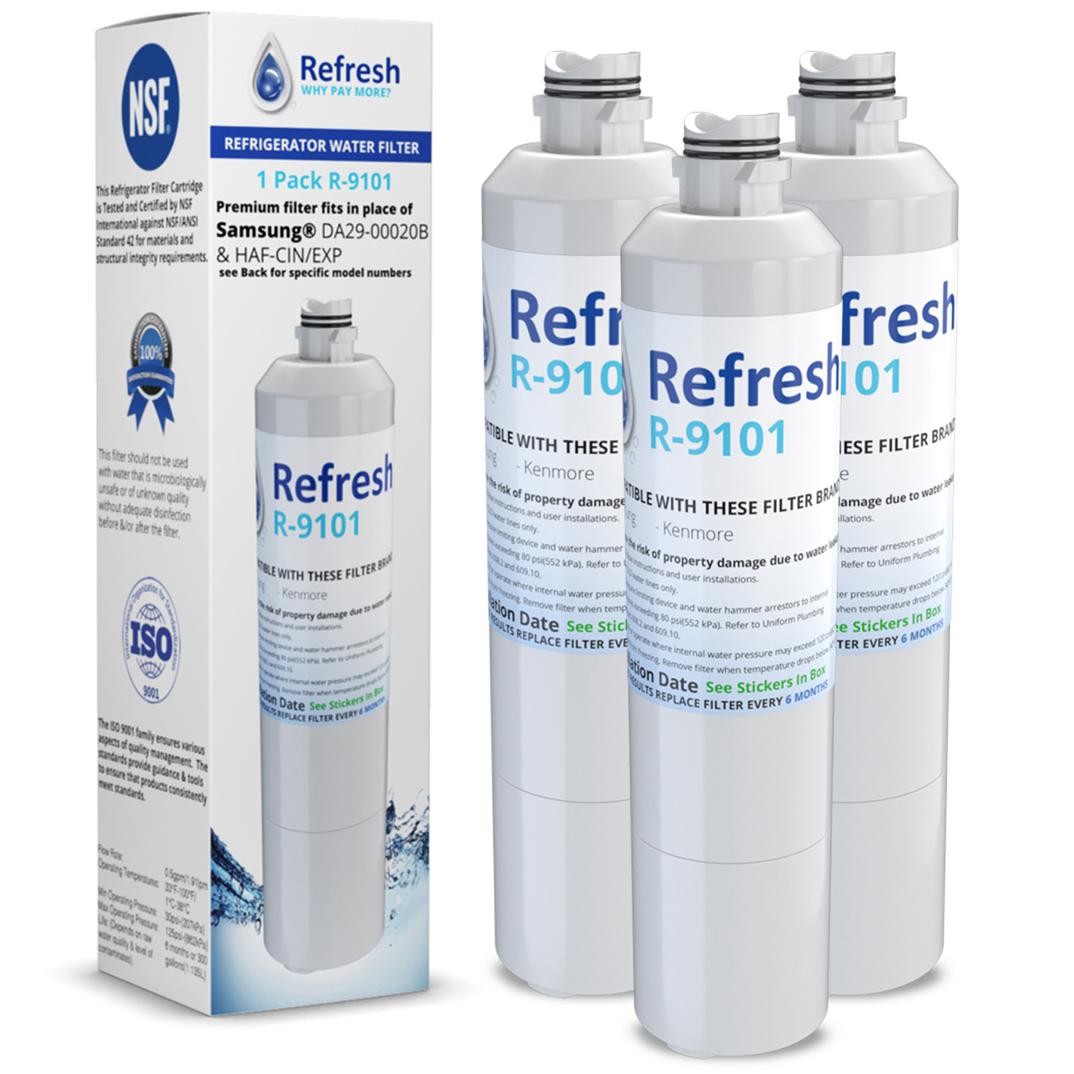 Replacement DA29-00020B / WF294 Water Filter for Samsung RS261MDRS Refrigerator Model ( 3 Pack )