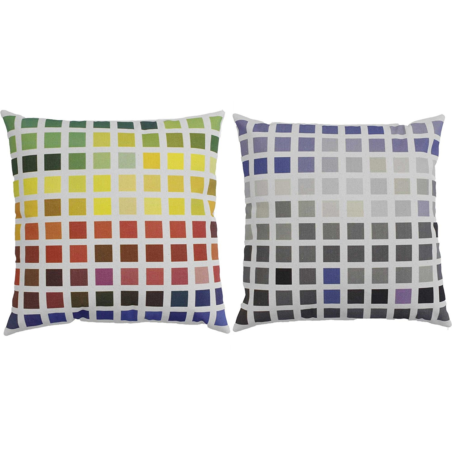 Set of 2 Color Block Squares Throw Pillows 14x14 Square White Indoor-Outdoor Cushions, One pair of RoomCraft Color Block Squares white.., By RoomCraft