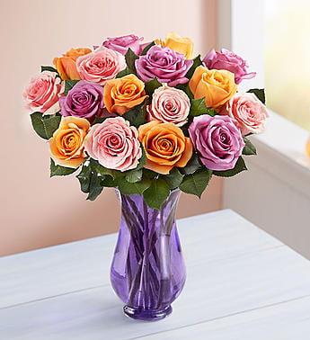 1-800-Flowers: Fresh Flowers - Sorbet Roses 18 Stems with Purple Vase