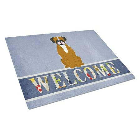 Caroline's Treasures Welcome Dog Glass Boxer Cooper Cutting Board ()