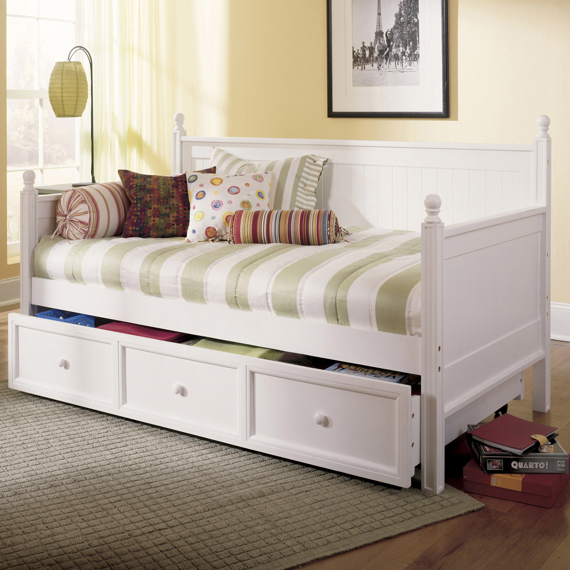Fashion Bed Group Casey II Wood Twin Daybed with Roll Out Trundle Drawer, White