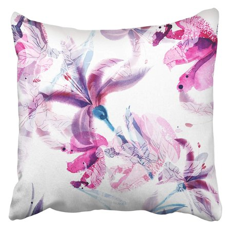 Hand Painted Lily - ARHOME Colorful Floral Watercolor Lilies Green Abstract Flower Paint Color Water Hand Splash Pillow Case Cushion Cover 16x16 inch