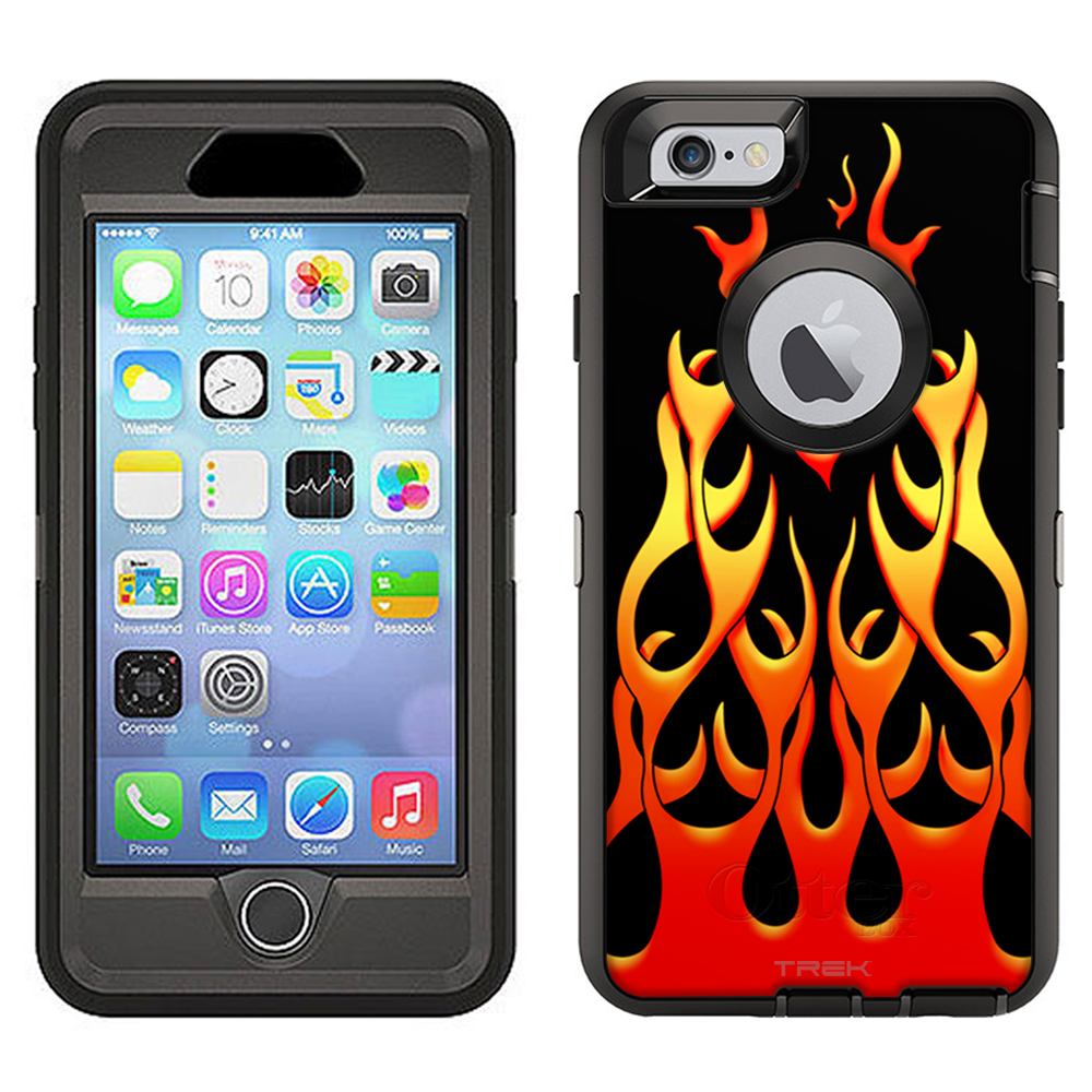 SKIN DECAL FOR Otterbox Defender Apple iPhone 6 Plus Case - Red Flames on Black DECAL, NOT A CASE