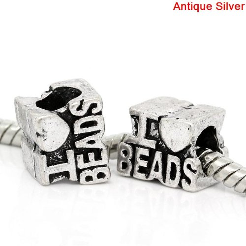 "Antique Silver Finish ""I Love Beads"" Charm Bead. Compatible With Most Pandora Style Charm Bracelets."