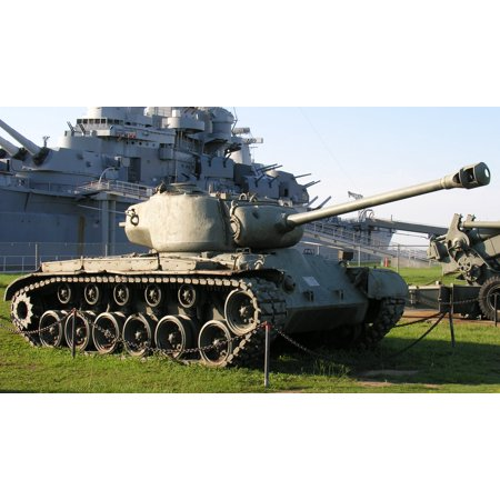 Canvas Print M26 Pershing tank at USS Alabama Stretched Canvas 10 x 14