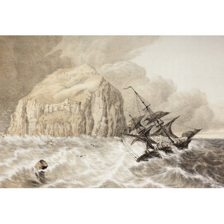 A Shipwreck Against The Bass Rock Firth Of Forth Scotland From The Scots Worthies According To Howies Second Edition 1781 Published 1879 Canvas Art   Ken Welsh  Design Pics  34 X 24