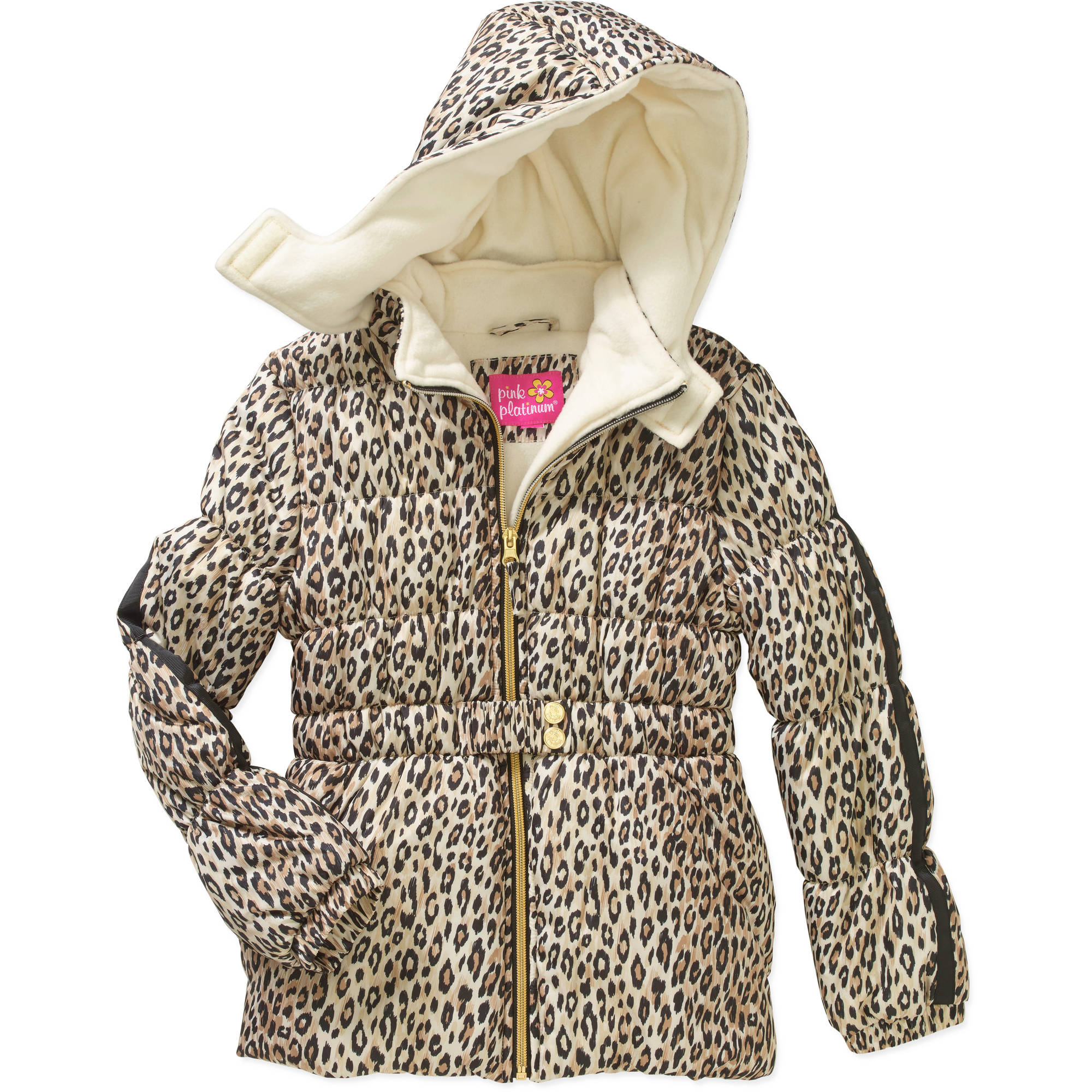 Girls' Belted All Over Cheetah Print Puffer Jacket with Hood
