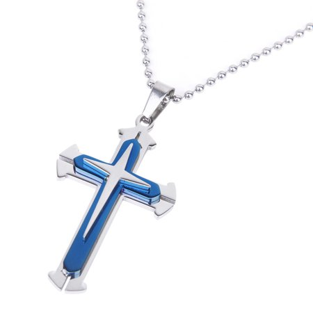 Stainless Steel Men's Cross Pendant Necklace With High Quality Bead Chain -
