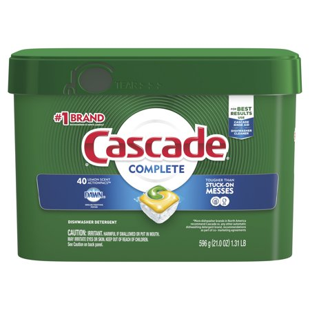 Cascade Complete Actionpacs, Dishwasher Detergent, Lemon Scent, 40 count Cascade Gel Lemon Scent
