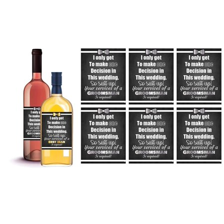 6 Will You Be My Groomsman + 1 BONUS Best Man Proposal Wine Labels or Liquor Labels, Whisky, Vodka, Rum, Beer Bottle Labels or Stickers set, Groomsmen Party Favors, Party Decorations (Suit