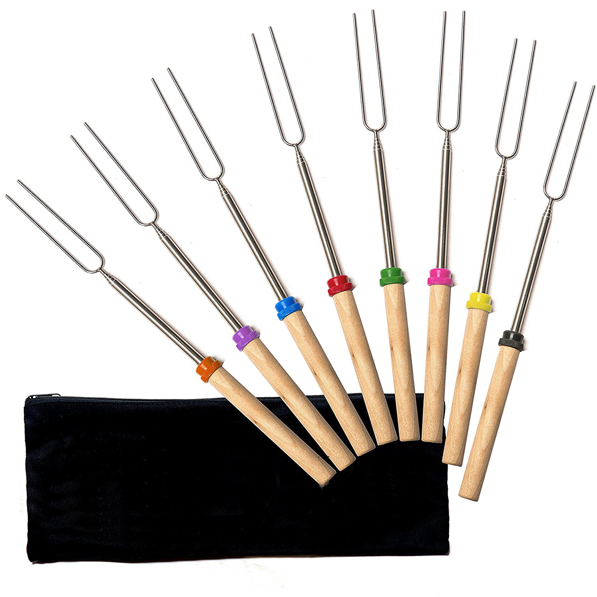 "8Pcs Marshmallow Roasting Sticks, Scalable 11.8""-32"" Stainless Steel Barbecue Forks, Smore Skewers&Hot Dog Sticks, Perfect for Campfire, Fire Pit, Camping and BBQ, Safe Cookware Kit(8 Colors)"
