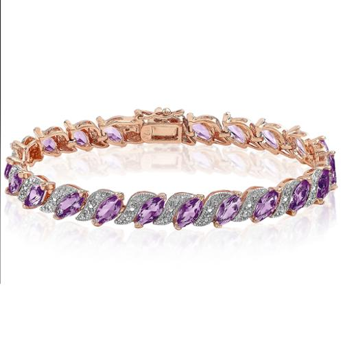 Dolce Giavonna Rose Gold Over Sterling Silver Diamond Accent and Amethyst Bracelet by Overstock
