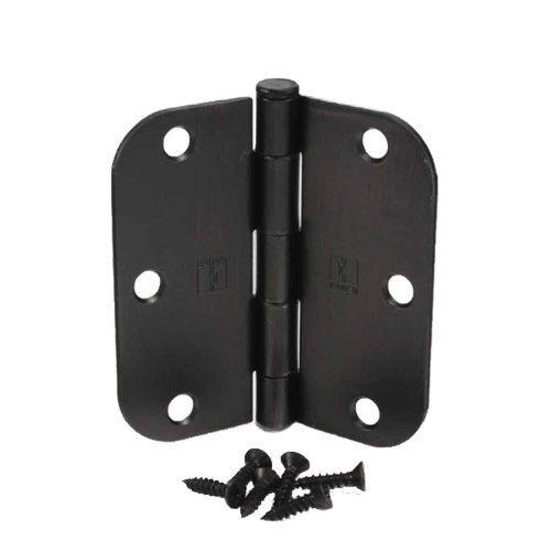 """(Pack of 40) Hager 3 1/2 Inch Oil Rubbed Bronze Door Hinges with 5/8"""" Radius Corners, Pack of 40"""